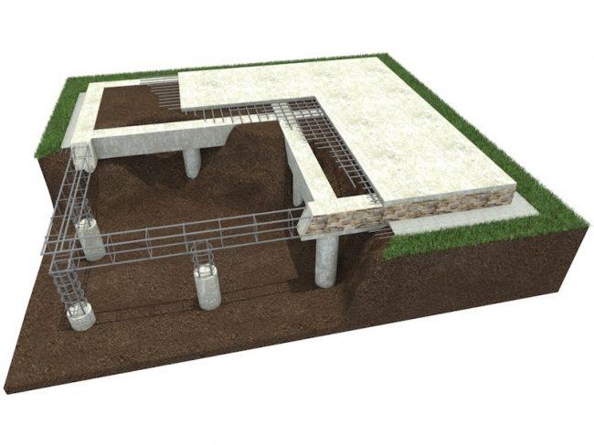 Плита на сваях 6х8 - для каменного дома